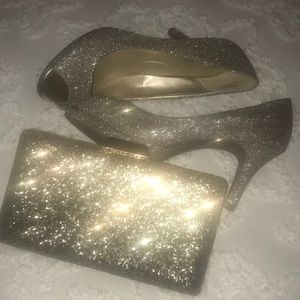 Bandolino sparkly peep toes and clutch